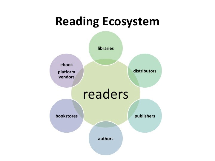 Libraries, distributors, publishers, authors, bookstores, and e-book platform vendors all impact readers.
