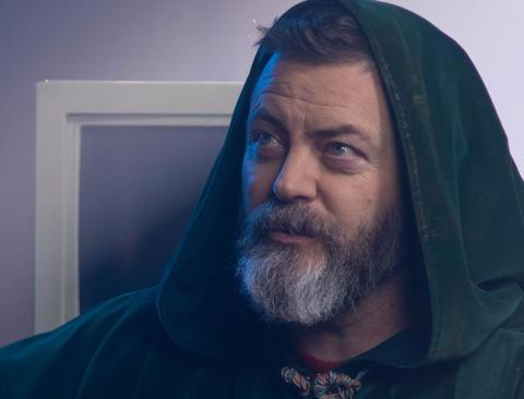Nick Offerman, in costume as the Wizard of the World Wide Web
