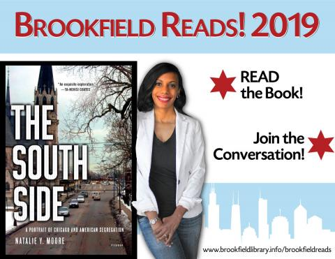 Natalie Moore with her book The South Side against Chicago flag background