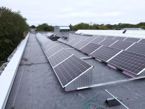 Sixty solar panels, installed on the library's roof in September, went live in December.