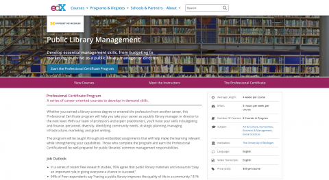Screen capture of the edx web page for the certificate program