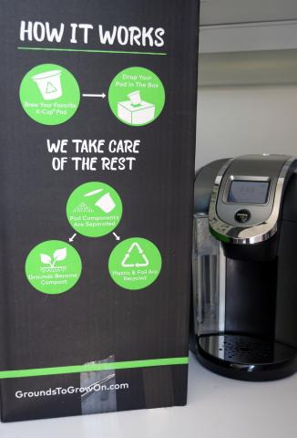 """Grounds to Grow On"" box for recycling used coffee pods"