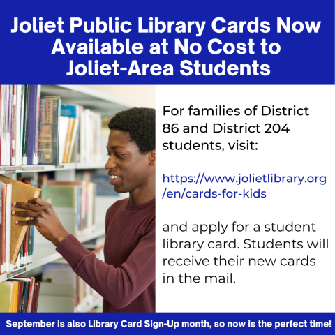 Student Library Cards Available Now to Joliet Area Students