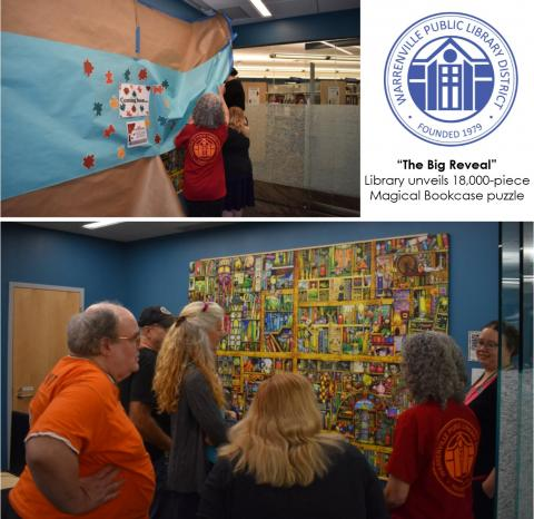 18,000-piece Magical Bookcase Puzzle Big Reveal at Warrenville Library