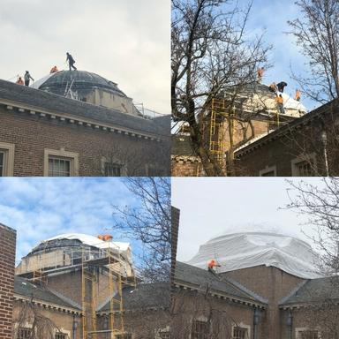 Timelapse photos of Lake Forest Library dome being wrapped for the winter