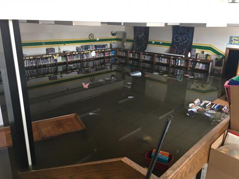 Flooded Library at W.J. Murphy Elementary School