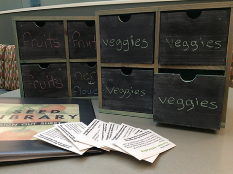 Photo of wooden containers with four drawers, a binder, and seed packets