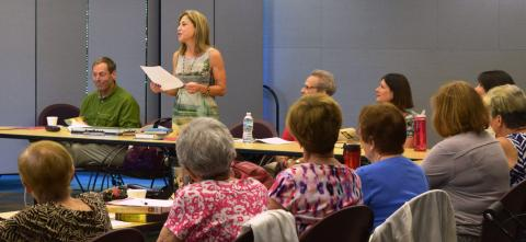 Judy Levin leads a book discussion at Vernon Area Library in Lincolnshire