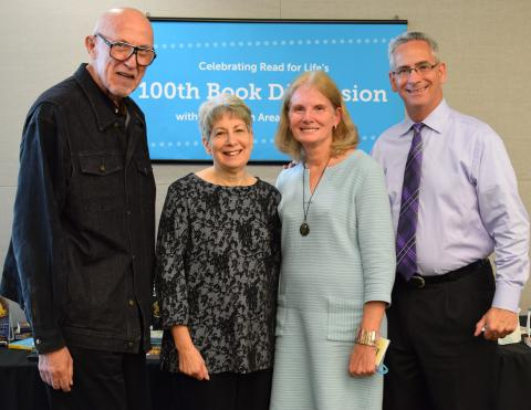 From left to right: Retired teacher Jack Cantor, librarians Gina Sheade and Pam Minarik and teacher Bob Pakaski at the 100th book discussion of Read for Life, a partnership between the Hulse Detention Center and Vernon Area Public Library.