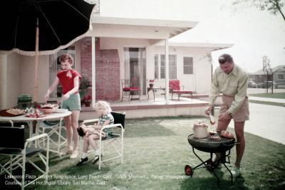 Lakewood Plaza, Outdoor Living Space, Long Beach, California, 1950s. Maynard L. Parker, photographer.