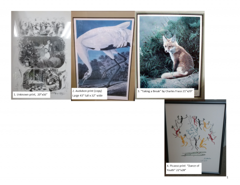 Four images of artwork for sale; victorian scene, crane, fox and picasso print.
