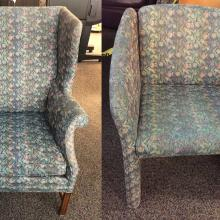 Picture of wingback chair and regular chair.