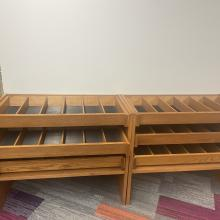 One unit with three shelves. The shelves pull out for access.