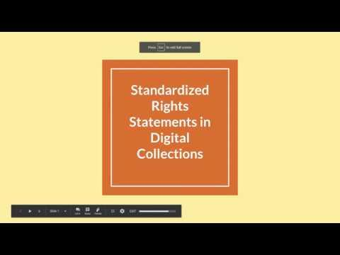 Copyright and Standardized Rights Statements for Digital Collections