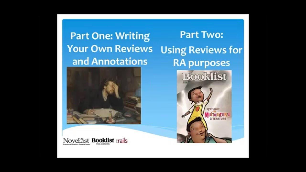 Book Review Basics: Using Reviews and Annotations for Readers Advisory